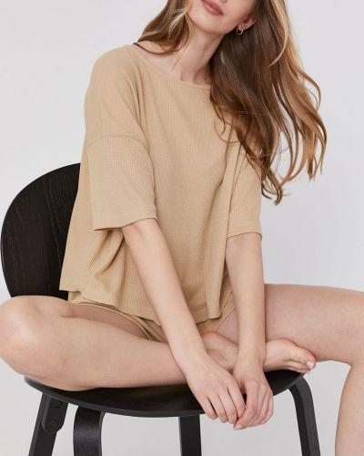 Beżowa piżama bawełniana krótki rękaw Answear Lab