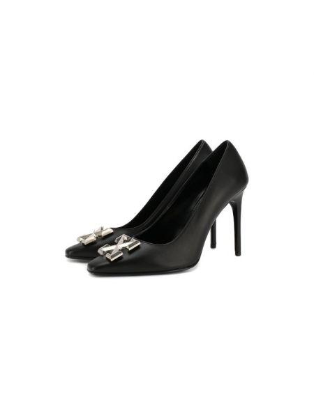 Туфли на каблуке черные кожаные Off-white