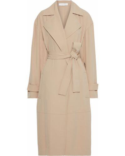 Текстильное бежевое пальто с карманами Victoria Beckham