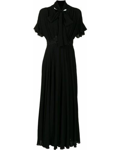 С рукавами черное платье мини с вышивкой Giambattista Valli