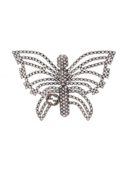 Broszka ze srebra motyl kryształ Gucci