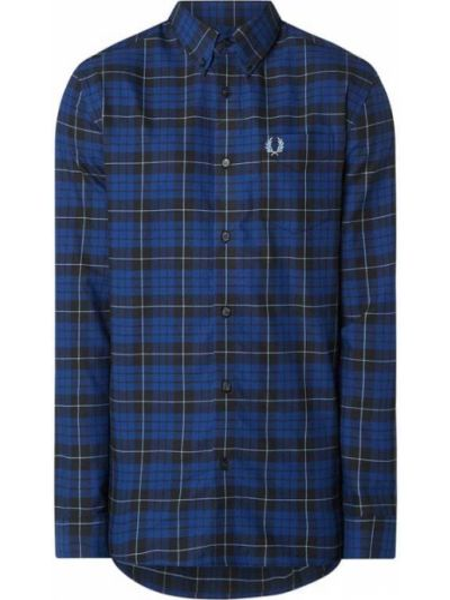 Z rękawami puchaty niebieski bawełna koszula oxford Fred Perry