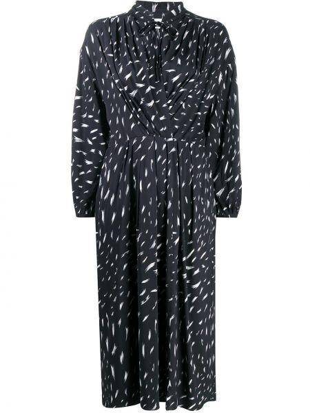 Черное платье миди с длинными рукавами с воротником из вискозы Iro