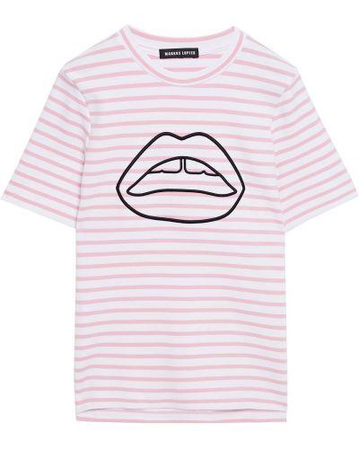 Белая футболка в полоску с вышивкой Markus Lupfer