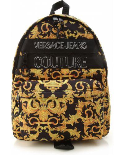 Czarny plecak z nylonu Versace Jeans Couture
