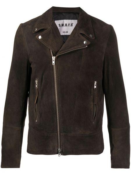Коричневая куртка на пуговицах с подкладкой байкерская S.w.o.r.d 6.6.44