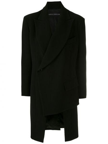Черное длинное пальто с капюшоном с запахом Gloria Coelho