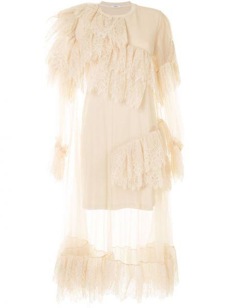 Нейлоновое платье миди с оборками с вырезом трапеция Goen.j
