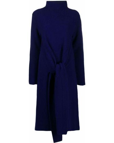 Вязаное синее платье с рукавами оверсайз с воротником Christian Wijnants