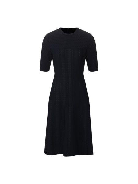 Вечернее платье из вискозы синее St. John
