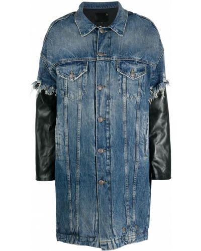 Синее кожаное длинное пальто оверсайз R13