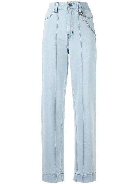 Серебряные прямые джинсы с поясом Pony Stone