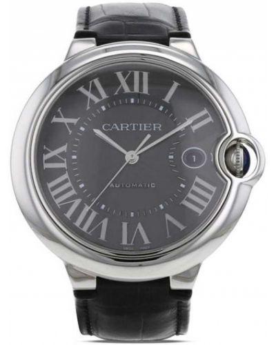 Кожаные серебряные часы на кожаном ремешке круглые Cartier
