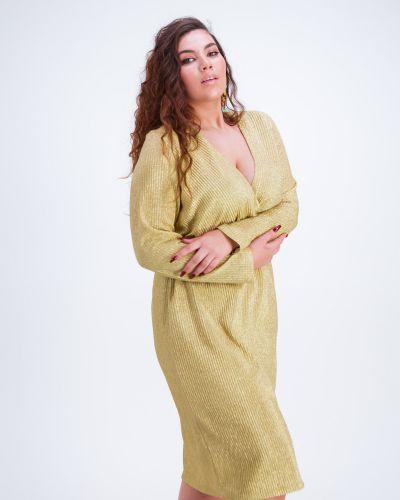 Платье с запахом золотое на резинке Grandua