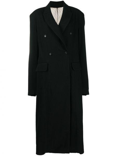 Шерстяное черное длинное пальто двубортное Masnada