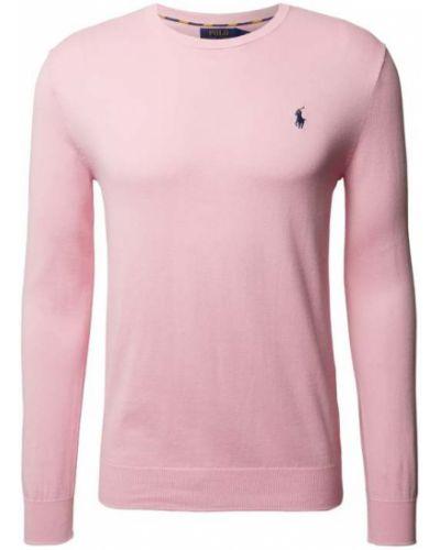 Prążkowany różowy sweter dzianinowy Polo Ralph Lauren