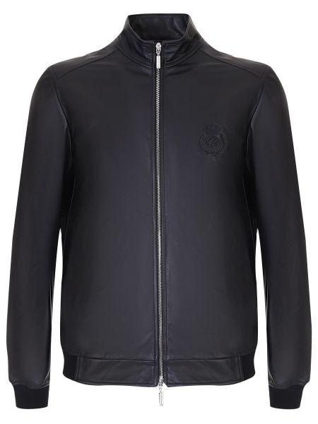 Черная кожаная куртка с поясом на молнии с манжетами Castangia