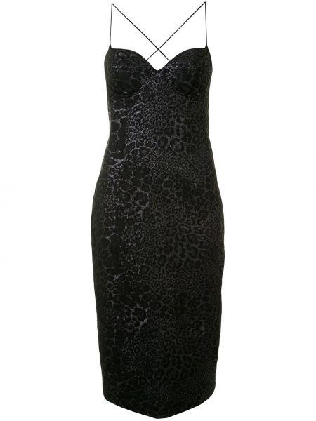 Черное тонкое платье миди на бретелях с вырезом Manning Cartell