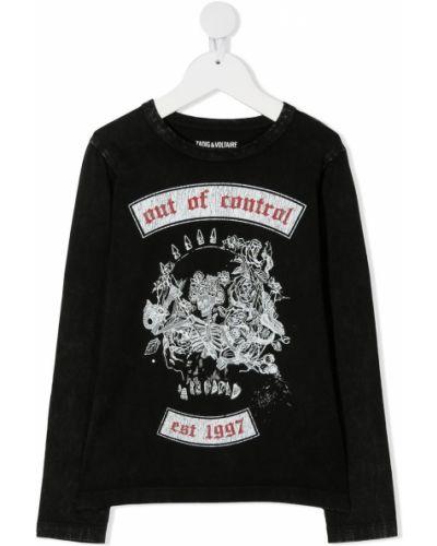 Хлопковая черная футболка с круглым вырезом с длинными рукавами Zadig & Voltaire Kids