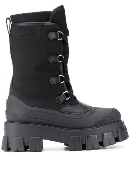 Skórzany czarny buty na pięcie w połowie kolana okrągły Prada