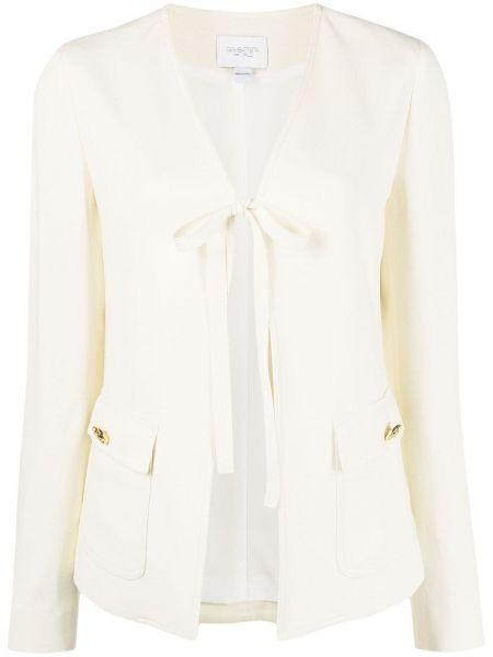 Белый удлиненный пиджак с вырезом из вискозы Giambattista Valli