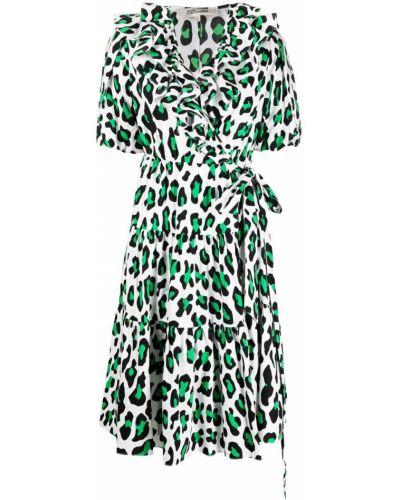 Zielona sukienka mini kopertowa krótki rękaw Dvf Diane Von Furstenberg