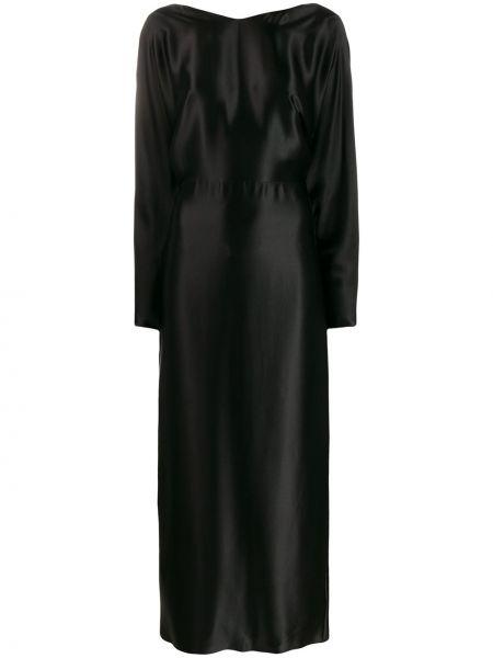 Шелковое черное платье макси с длинными рукавами круглое Deitas