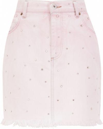 Розовая юбка мини с поясом со стразами металлическая Miu Miu
