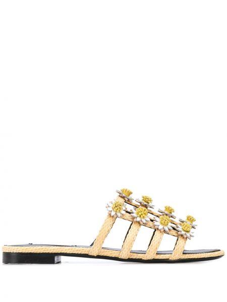 Открытые кожаные сандалии с открытым носком на плоской подошве Fabrizio Viti