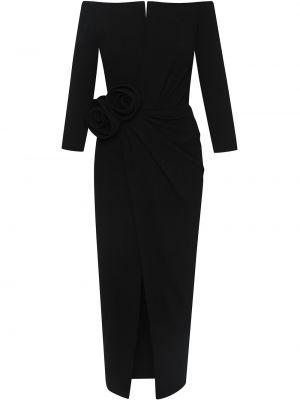 Платье миди с открытыми плечами - черное Oscar De La Renta