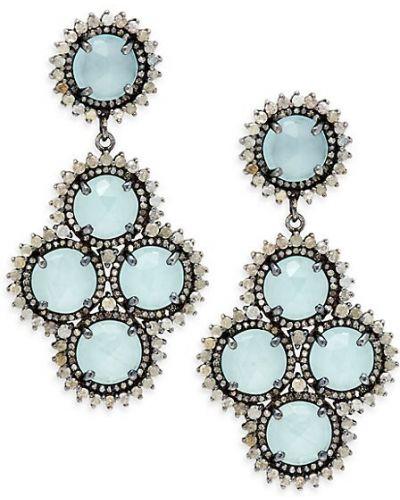 Черные серьги-гвоздики с бриллиантом круглые Bavna