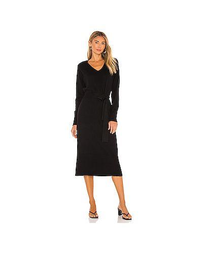 Черное вязаное платье с воротником с завязками Rails