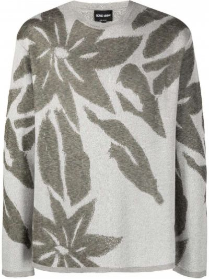 Zielona bluza z długimi rękawami z printem Giorgio Armani