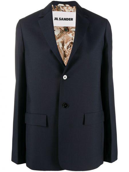 Шерстяная с рукавами синяя куртка Jil Sander