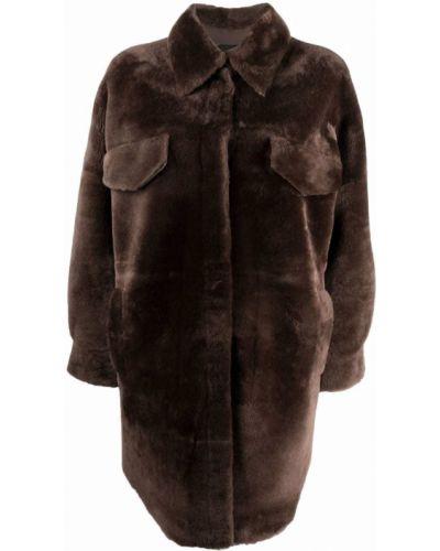 Коричневое пальто классическое Blancha