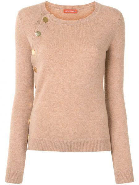 Коричневый кашемировый длинный свитер в рубчик с круглым вырезом Altuzarra