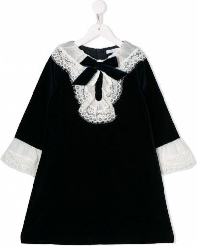 Ажурное синее платье с рукавами Patachou