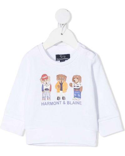 Белая футболка круглая с длинными рукавами с круглым вырезом Harmont & Blaine Junior