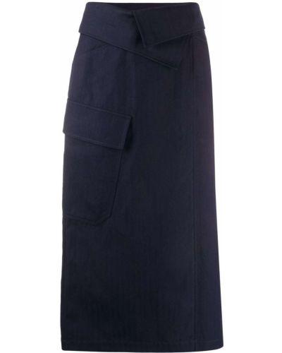 С завышенной талией синяя юбка миди с карманами Kenzo