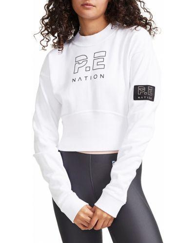 Biały długi sweter bawełniany z długimi rękawami P.e Nation