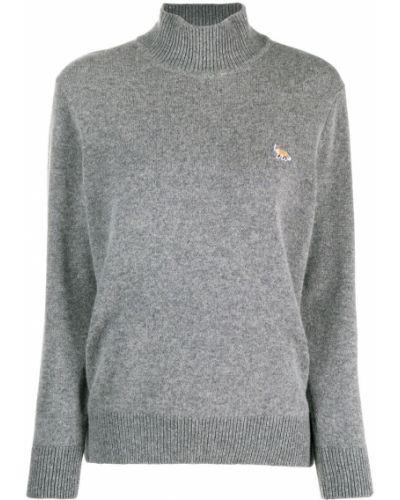 Шерстяной серый джемпер с вышивкой в рубчик Maison Kitsuné