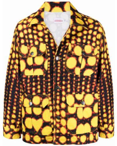 Czarna długa kurtka bawełniana z printem Charles Jeffrey Loverboy