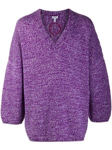 Шерстяной длинный свитер оверсайз с V-образным вырезом Loewe