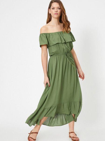 Зеленое платье с открытыми плечами Koton