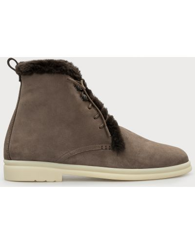 Замшевые ботинки - бежевые Loro Piana