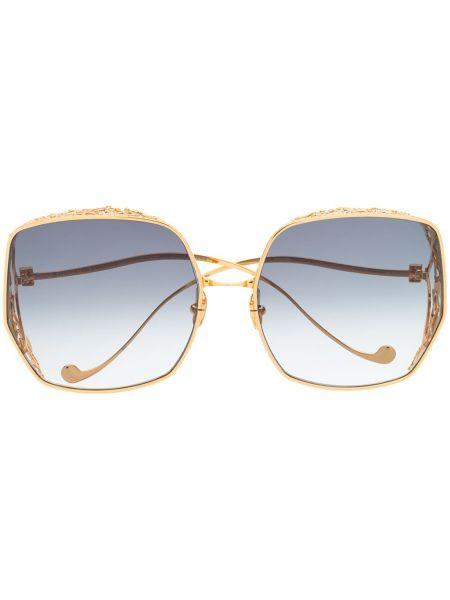 Прямые желтые солнцезащитные очки квадратные металлические Anna Karin Karlsson