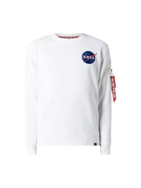 Biała bluza z haftem bawełniana Alpha Industries