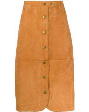 Золотистая коричневая юбка миди узкого кроя на пуговицах Coach