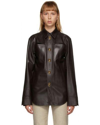 Коричневая кожаная рубашка с длинными рукавами Bottega Veneta