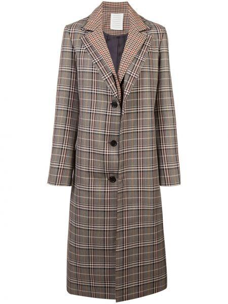 Коричневое шерстяное длинное пальто с капюшоном Monse